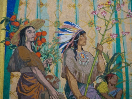 Mosaic detail of a Native American from high up in the church