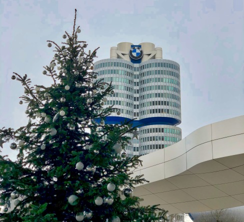 BMW headquarter building in the shape of an engine