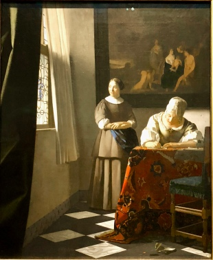Woman Writing a Letter with her Maid